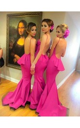 Gorgeous Fuchsia Backless Prom Dress 2018 Ruffle Sweep Train