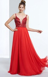 A-Line Spathetti Straps Sequins Floor-Length Prom Dress