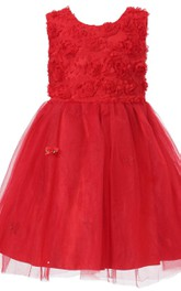 Sleeveless A-line Tulle Dress With Petals and Bow