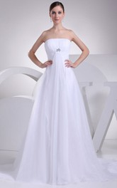 Fairy Strapless A-Line Ruched Dress With Rhinestone and Tulle Overlay