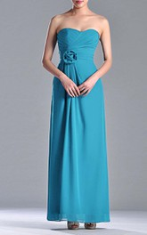 Floor-length Sweetheart Empire Chiffon Bridesmaid Dress With 3D Flower