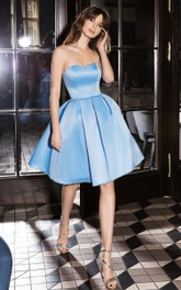 Cute Sweetheart Satin A Line Sleeveless Short Homecoming Dress with Pleats