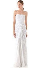 Long Strapless Sheath Taffeta Dress With Criss-Cross Pleats