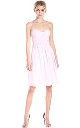 Simple A-line Mini Chiffon Dress with Pleats