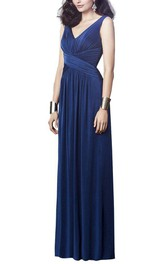 V-neck Long Bridesmaid Dress with Ruching