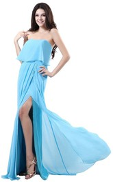 Strapless Long Layered Chiffon Dress With Side Silt