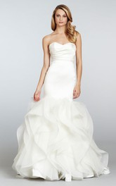 Gorgeous Strapless Satin Ruched Bodice Organza Dress With Detachable Jewel Embellishment