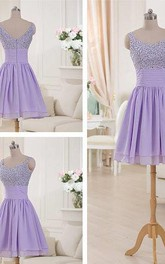 Elegant Spaghetti Strap Sequins Short Hiffon Homecoming Dress