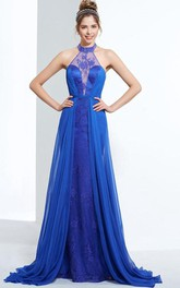 Sheath Halter Lace Sweep Train Prom Dress