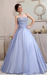 Romantic Strapless A-Line Ball Gown With Beading