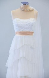 Sweetheart A-Line Tulle Dress With Tiered Skirt and Beadings