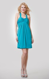 A-Line Short Chiffon Dress With Ruching and Halter