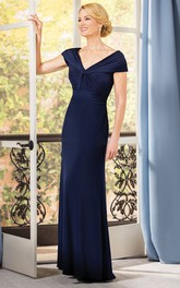 Fabulous V-Neck Cap-Sleeved Long Gown With Ruches