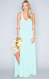 Floor-length Sheath V-neck Chiffon Beach Sleeveless Natural Waist Deep-V Back Dress