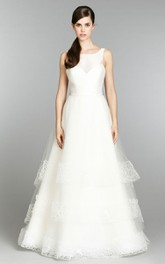 Graceful Sleeveless Tiered Tulle Ball Gown With Embroidery
