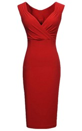 Cap-sleeved V-neck Sheath Dress With Pleats
