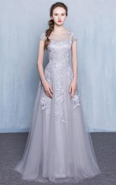 Sheer Neck Appliques Beading Cap Sleeves Prom Dress