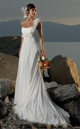sheath One Shoulder Hand Made Flowers Chiffon Wedding Dress