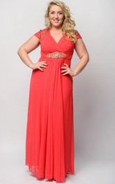 Empire Floor-Length V-Neck Short Sleeve Empire Chiffon Crystal Detailing Dress