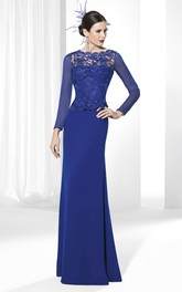 Jewel-Neck Floor-Length Appliqued Long-Sleeve Jersey Prom Dress