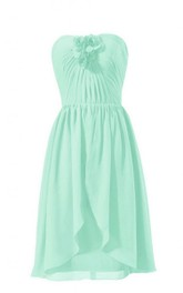 Asymmetrical Sweetheart Ruched Chiffon A-line Dress With Flowers