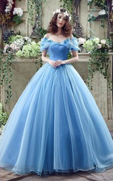 Princess Off-the-Shoulder Sequins Tulle Ball Gown Dress With Flowers