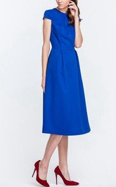 Simple High Neck Cap Sleeve A-line Satin Knee Length Dress
