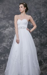 Sweetheart Ruched A-line Court Tulle Gown With Lace Applique