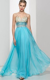 Straps Beading Crystal Open Back Long Prom Dress