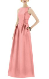 Elegant Long Satin Dress with Pleats and Pockets
