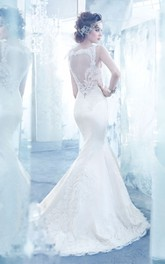 Enchanting V-Neck Lace Bodice Satin Mermaid Dress With Illusion Keyhole Back
