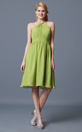 Sleeveless Halter Neck Short Chiffon Dress With Pleats