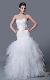 Refined Sweetheart Cascading Ruffled Tulle Mermaid Dress