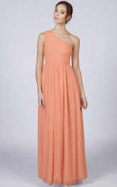 One Shoulder A-line Pleated Chiffon Floor Length Dress Orange
