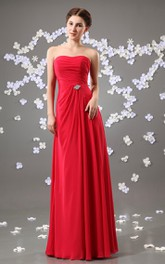 Strapless Chiffon Floor-Length Dress With Beaded Embellishment