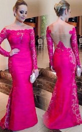 Newest Fuchsia Long Sleeve Mermaid Evening Dress 2018 Lace Off-the-shoulder