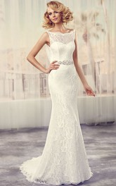 Maxi Bateau Jeweled Lace Wedding Dress With Sweep Train And V Back