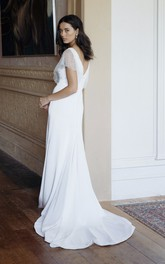 Plunging V-neck Elegant Sheath Court Train Bridal Gown With Illusion Beaded Sleeves
