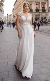 Plunging Cap Sleeve Illusion Back Sexy Plus Size Wedding Dress With Keyhole Corset