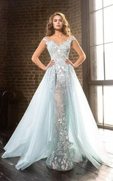 Ethereal Romantic Floor-length V-neck Lace Tulle A-Line Cap Sleeveless Zipper Deep-V Back Appliques Evening Dress