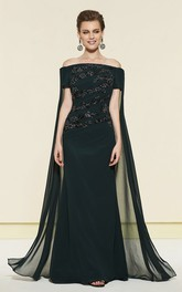 Sheath Appliqued Off-the-shoulder Evening Dress With Watteau Train