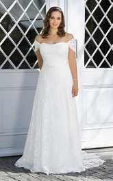 A-Line Floor-Length Off-The-Shoulder Lace Sweep Train  Dress