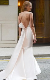 Satin Bateau-neck Open Back Sleeveless Wedding Dress with Bow