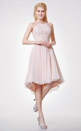 Graceful Halter Neck Empire Chiffon High Low Dress