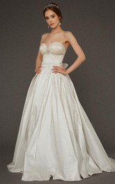 Sweetheart Spaghetti Straps A-Line Taffeta Gown With Open Back