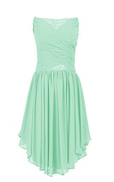 Asymmetrical Strapless Ruched Short Dress With Lace Appliques