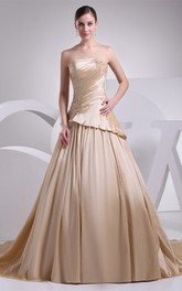 Sleeveless A-Line Pleated Appliques and Gown With Ruching