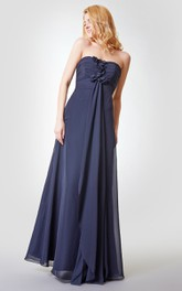 Strapless Draped A-line Long Chiffon Dress With Ruching