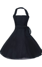 Halter A-line Dress With Belt and Tulle Skirt
