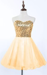A-line Sleeveless Tulle Sequins Sweetheart Lace-up Short Mini Homecoming Dress